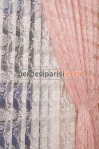 Pudra Damask  Tül Fon Perde