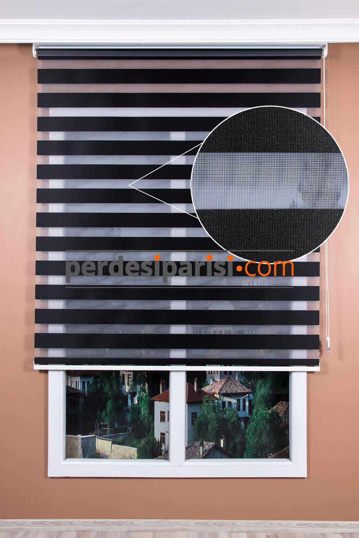 Düz Siyah Zebra Perde