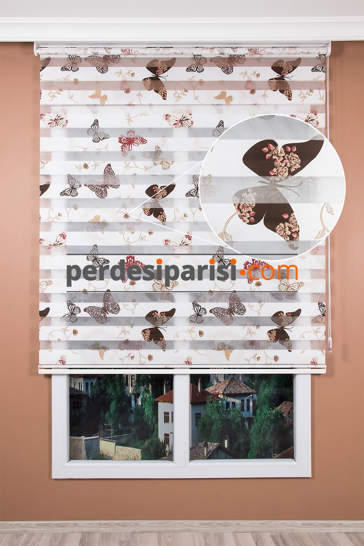 Kahverengi Kelebek Zebra Perde