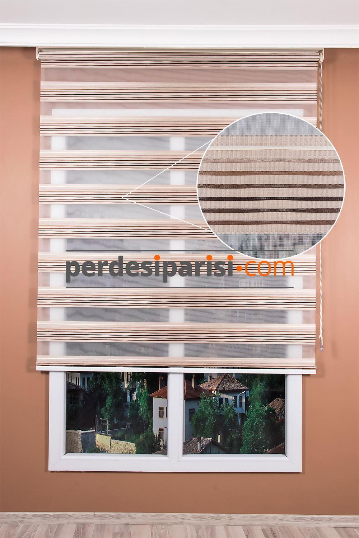 Kahve Bej Dalgalı Renkli Plise Zebra Perde