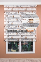 Kahverengi Cafe Zebra Perde
