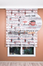 Kırmızı Cafe Zebra Perde