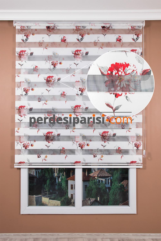 Kırmızı Gerbera Çiçekli Zebra Perde