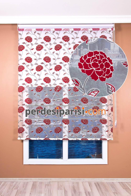 Kırmızı Kadife Çiçekli Çiftli Sistem Stor Perde