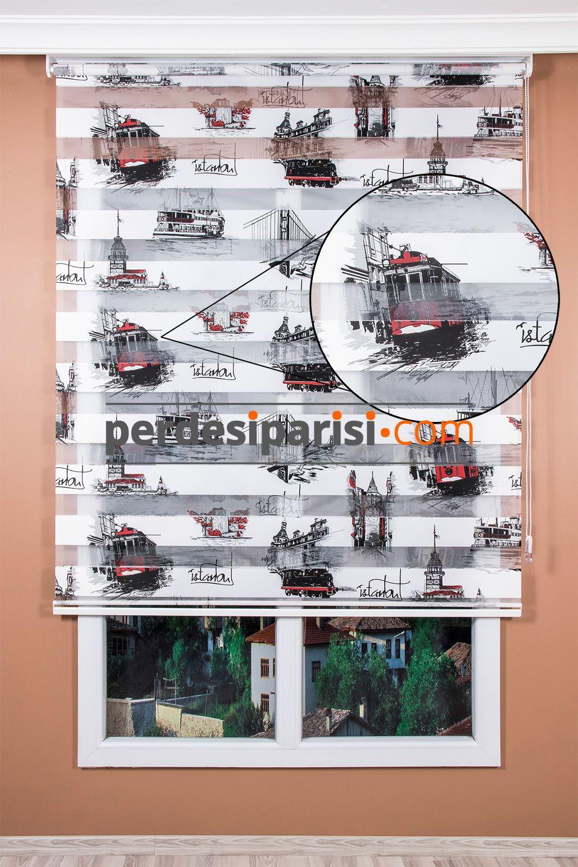 Kırmızı İstanbul Zebra Perde