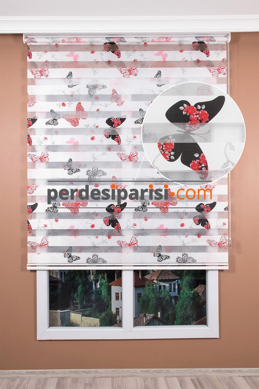 Kırmızı Kelebek Zebra Perde