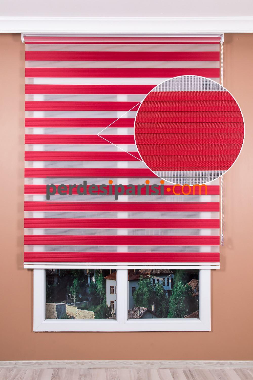 Kırmızı Renkli Plise Zebra Perde