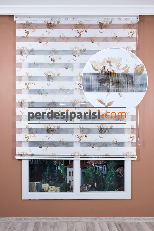Bej Gerbera Çiçekli Zebra Perde