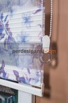 Mavi Çiçekli Plise Zebra Perde