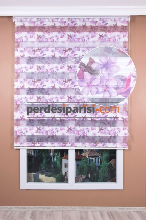 Mor Çiçekli Plise Zebra Perde