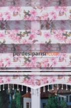 Pembe Çiçekli Plise Zebra Perde
