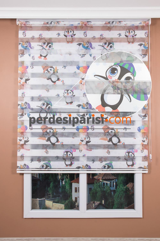 Penguen Baskılı Çocuk Zebra Perde