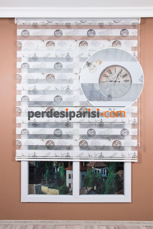 Klasik Saat Baskılı Zebra Perde