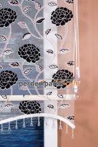 Siyah Kadife Çiçekli Çiftli Sistem Stor Perde