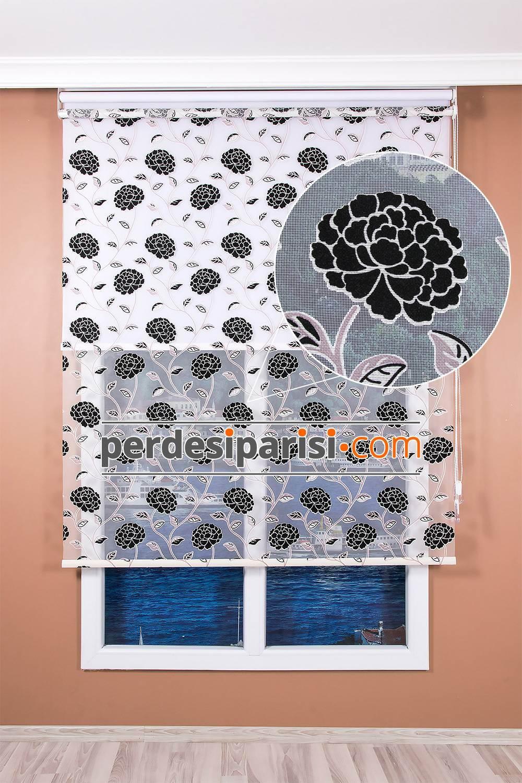 Siyah Kadife Çiçekli İkili Tül Stor Perde (150x200)