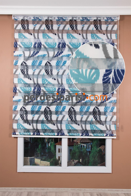 Turkuaz Mavi Yaprak Zebra Perde