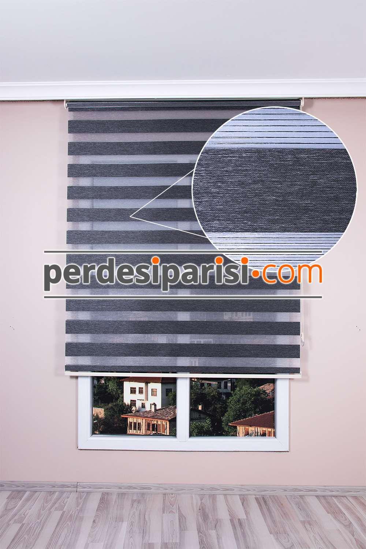 Füme Çizgili Bambu Zebra Perde