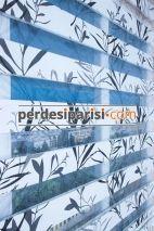 Gri Füme Yapraklı Zebra Perde