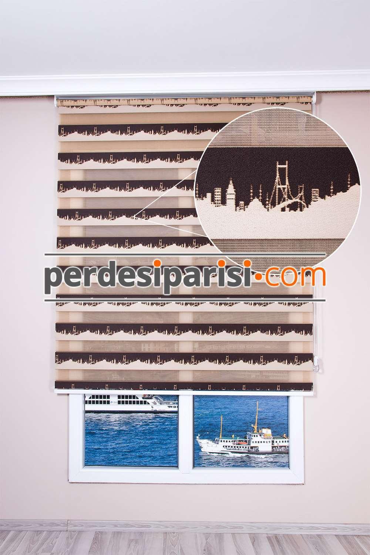 İstanbul Desenli Kahverengi Zebra Perde