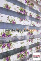Mor Çiçekli Zebra Perde