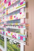 Renkli Evler Çocuk Zebra Perde