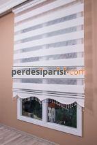 Beyaz Çizgili Yarım Plise Zebra Perde