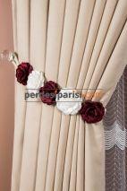 Bordo-Beyaz Çiçekli Braçol