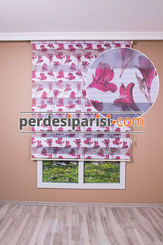 Bordo Çiçekli Plise Zebra Perde