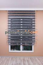 Füme Kırçıllı Bambu Zebra Perde