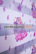 Gitarlı Kızlar Çocuk Plise Zebra Perde