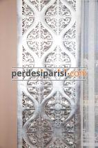 Gümüş Damask Lazer Deri Fon Perde