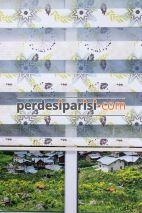 Hardal Vizon Çiçekli Plise Zebra Perde