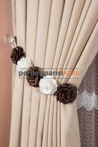 Kahve-Beyaz Taşsız Çiçekli Braçol