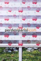 Kırmızı Gelincik Plise Zebra Perde