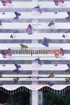 Lila Kelebek Zebra Perde