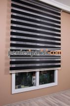Mat Siyah Düz Zebra Perde
