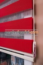 Mat Kırmızı Bambu Zebra Perde