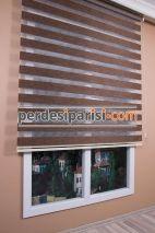 Mat Koyu Bej Bambu Zebra Perde