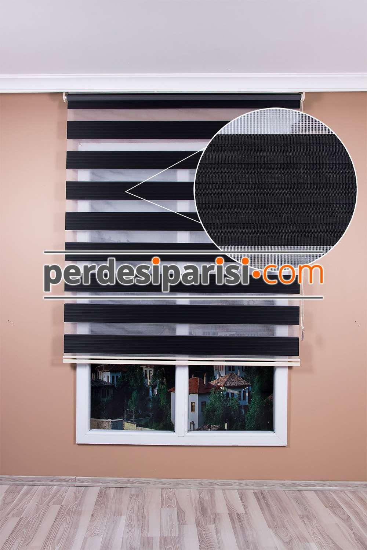 Mat Siyah Renkli Plise Zebra Perde