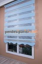 Mavi Renkli Plise Zebra Perde
