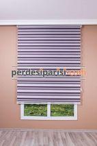 Mor Beyaz Dar Renkli Plise Zebra Perde