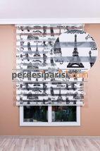 Paris Baskılı Zebra Perde