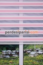 Pembe Beyaz Renkli Plise Zebra Perde
