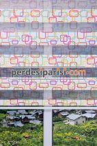 Renkli Geometrik Plise Zebra Perde