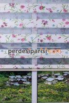 Sarmaşık Çiçekli Plise Zebra Perde