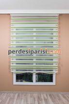 Yeşil Beyaz Renkli Plise Zebra Perde