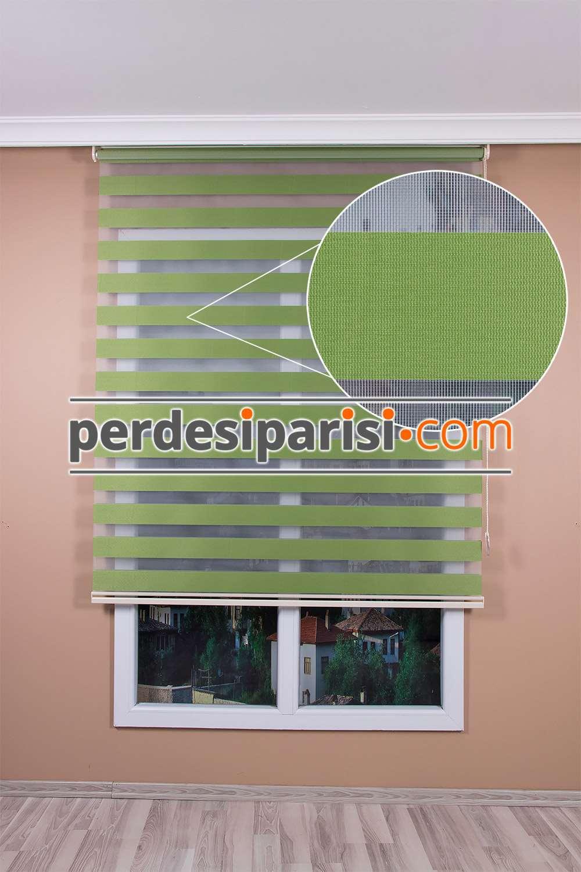 Yeşil Düz Zebra Perde