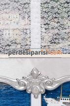 Adore - Midilli Gümüş Varaklı Çiftli Stor Perde