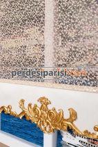 Alanzo - Girit Altın Varaklı Çiftli Stor Perde
