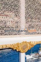 Alanzo - Rodos Altın Varaklı Çiftli Stor Perde